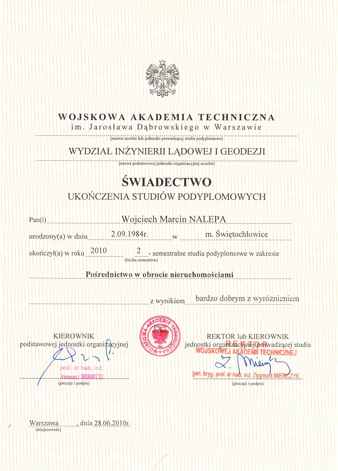 świadectwo ukończenia studiów podyplomowych w zakresie pośrednictwa w obrocie nieruchomosciami. Wojskowa Akademia Techniczna, Warszawa
